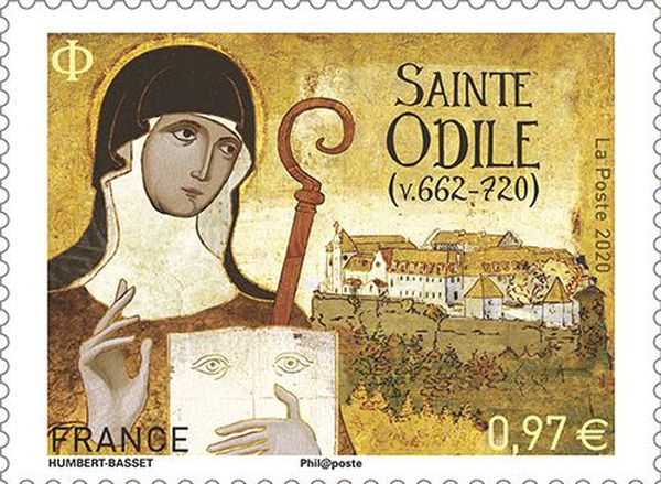 Le timbre à l'effigie de Sainte Odile sera mis en vente à 0,97 centimes à partir du 6 juillet 2020. Adapté à la mise sous pli d'une lettre de 20 grammes, c'est le timbre le plus vendu.
