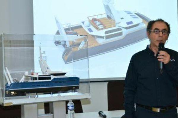 Le prototype de catamaran imaginé par l'entreprise IMOS