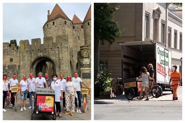 """Le 12 juin, """"l'Occitanie tour"""" de Carole Delga faisait étape à Carcassonne dans l'Aude (à gauche). Le matin même, les vélos avaient été livrés par camion (photo de droite)."""