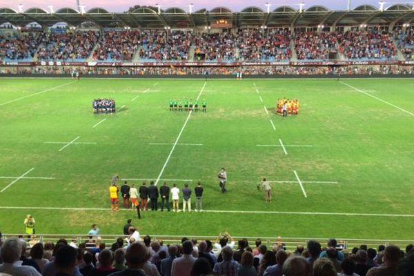 Une minute de silence a été respectée juste avant le début de la rencontre Perpignan- Bayonne ce samedi 19 août