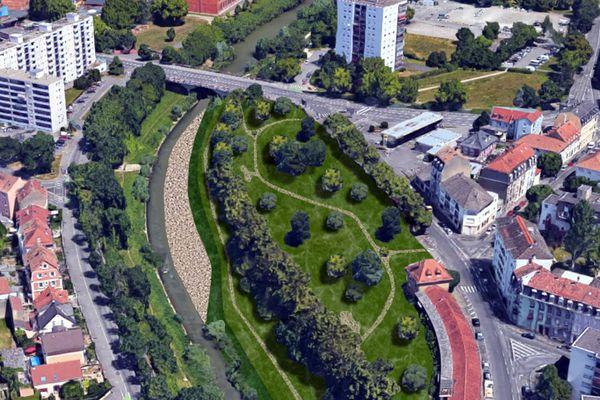 """Une vue aérienne du projet """"Les terrasses du musée"""", situé entre le pont de Strasbourg et la Cité de l'auto. Il est prévu d'y aménager un parc et d'une plage de galets."""