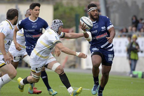 Rugby Pro D2 . Match : Vannes / Mont-de-Marsan , au Stade de la Rabine à Vannes ( Morbihan ) le 5 Mai 2019.