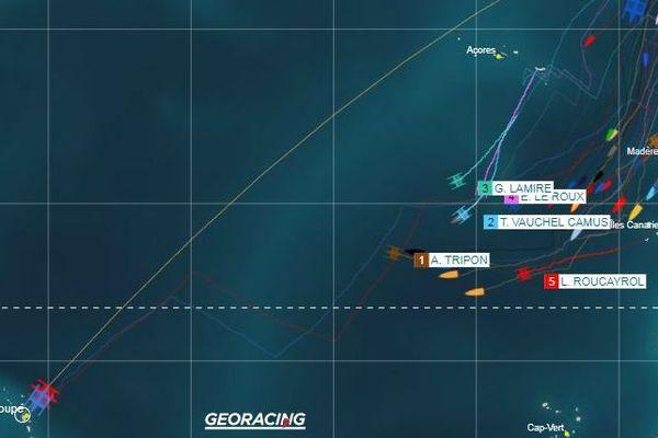 Les multi 50 reste assez groupés en direction de la Guadeloupe.