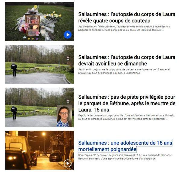 La Voix du Nord a rédigé quatre articles à la suite de la découverte du corps de Laura, le 30 janvier 2020.