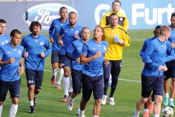 Montpellier : le MHSC s'entraîne au stade de La Mosson avant le match de Ligue des champions contre l'Olympiakos Le Pirée - 23 octobre 2012.