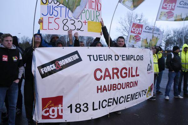Manifestation des salariés Cargill Haubourdin, le 28 janvier 2020.