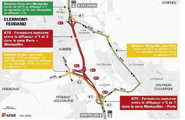 La nuit du 3 juin, une fermeture de l'A75 est programmée au sud de Clermont-Ferrand.