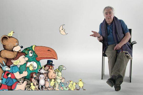 Claude Ponti en bonne compagnie, avec les héros de ses propres livres.