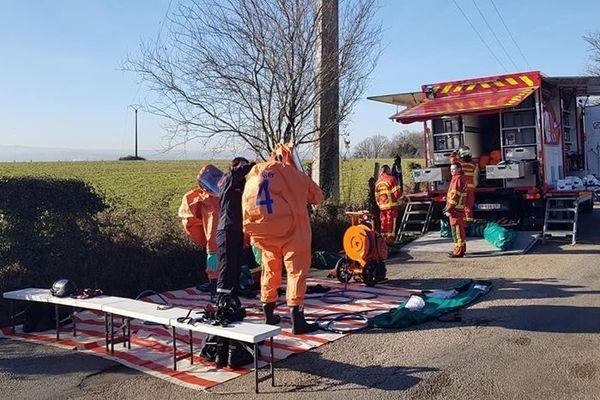 L'intervention des pompiers sur la fuite de chlore à Isle.