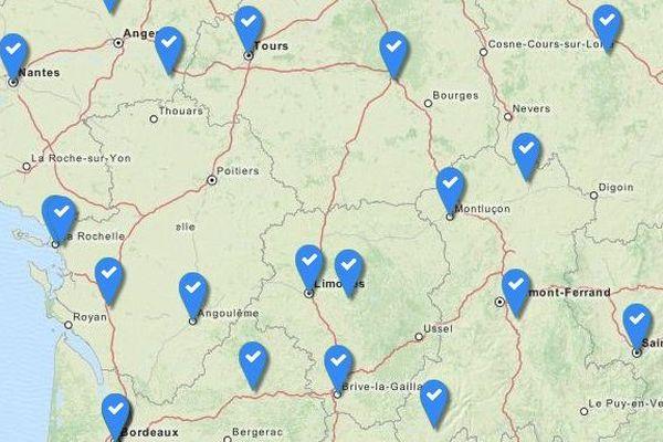 Les balises en bleu indiquent les sites où les cheminots ont voté la reprise du travail