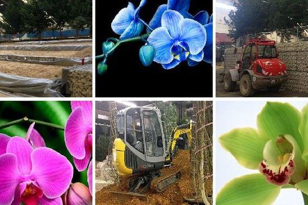 Les préparatifs de l'exposition Florissimo qui aura lieu du jeudi 19 au dimanche 29 mars 2015 au parc des expositions de Dijon.