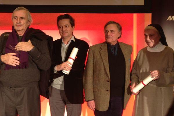 Les lauréats du prix spécial du jury du Moniteur 2012 : Michel Corajoud, Paul Vincent (RPBW), Jean-François Mathey et soeur Brigitte pour le projet Ronchamp.