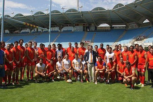 Perpignan : l'équipe 2014-2015 de l'USAP - juillet 2014.