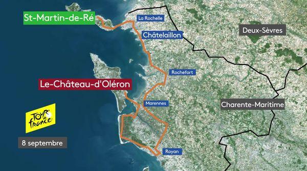 Le parcours de la 8e étape du Tour de France 2020, en Charente-Maritime.