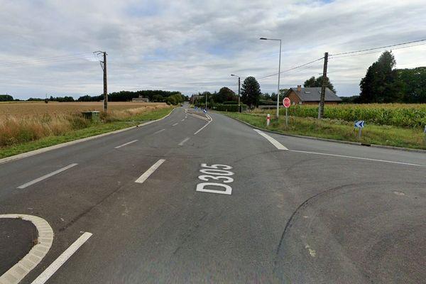 Le piège a été tendu à ce carrefour situé à Houdain-lez-Bavay (Nord).