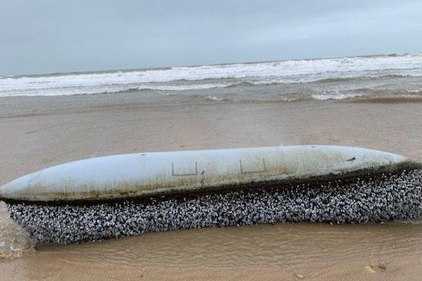 L'engin est apparu à marée basse ce lundi matin sur une plage de Grayan-et-l'Hôpital, entre les blockhaus et le centre naturiste Euronat