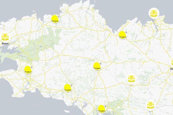 Carte des points de blocage des gilets jaunes
