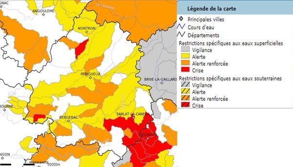 L'état de la sécheresse au 28 juillet dans le département, tenu en temps réel sur le site de Propluvia