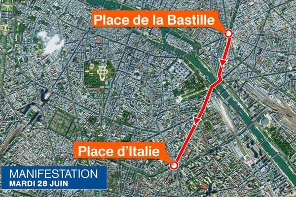 Le parcours de la manifestation parisienne contre la loi Travail, le mardi 28 juin.