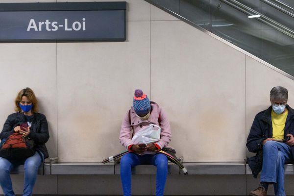 Dans le métro à Bruxelles, ce lundi