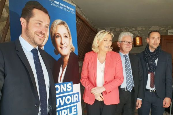 Marine Le Pen venue avec Nicolas Bay soutenir le candidat RN Hervé Juvin.