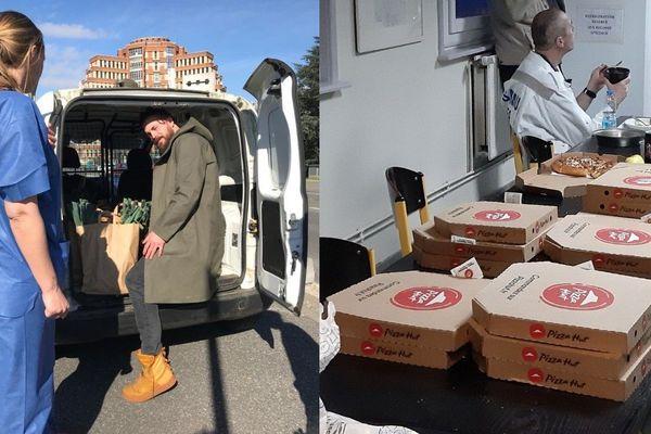 Le restaurateur Florent Ladeyn (à gauche) est venu livrer des paniers bio au CHU de Lille. Le personnel a également reçu des pizzas.