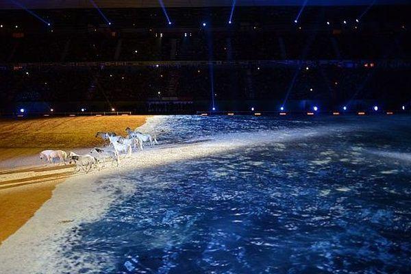 Le stade d'Ornano recouvert par la mer et le sable, grâce aux effets 3 D, samedi 23 août 2014