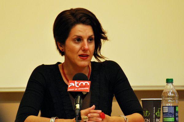 L'essayiste algéro-québécoise, militante féministe et laïque Djemila Benhabib est à Vaise, le 29 mars 2017, pour une conférence sur le droits des femmes organisée par l'Association Femmes contre les Intégrismes.