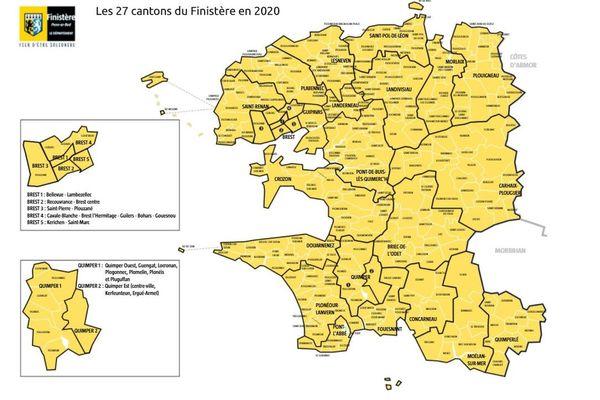 Le Finistère comporte 277 communes réparties en 27 cantons