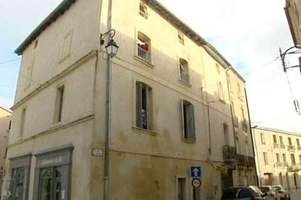 Lunel (Hérault) - l'un des immeubles du centre ville perquisitionnés lors de l'opération anti-djihad - 27 janvier 2015.