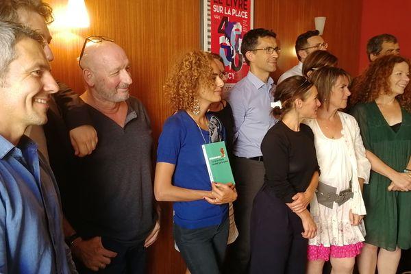 Le jury 2018 du Prix Stanislas présidé par Leïla Slimani, mardi 28 août 2018 à Nancy (Meurthe-et-Moselle).