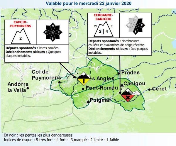 Prévisions du risque d'avalanche mercredi 22 janvier