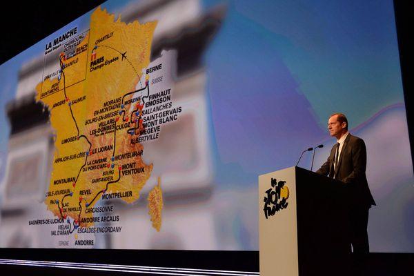Présentation du Tour de France 2016, depuis le palais des congrès, porte Maillot à Paris par Christian Prudhomme.