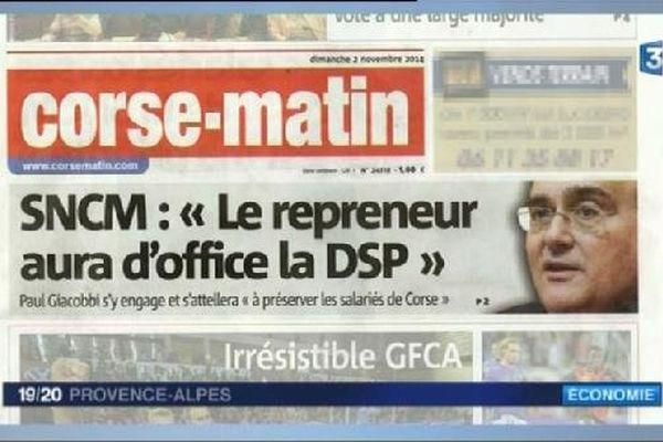 """Dans """"Corse matin"""" du 2 novembre, le président du conseil exécutif, Paul Giaccobi, se porte garant de la continuité de la DSP"""
