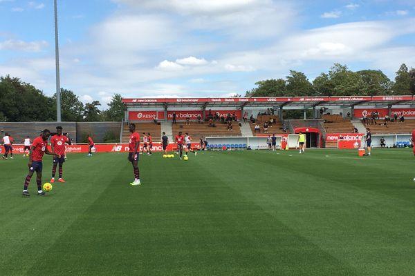 Les Lillois à l'échauffement avant le match contre Anderlecht