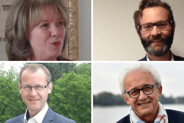 """De gauche à droite, de bas en haut : Catherine Deroche (Les républicains), Emmanuel Capus (LR """"constructif"""", investi par LREM), Stéphane Piednoir (LR) et Joël Bigot (divers gauche)."""
