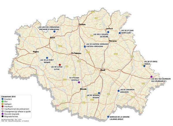 Carte de la qualité des eaux de baignade en eau douce en Ariège.
