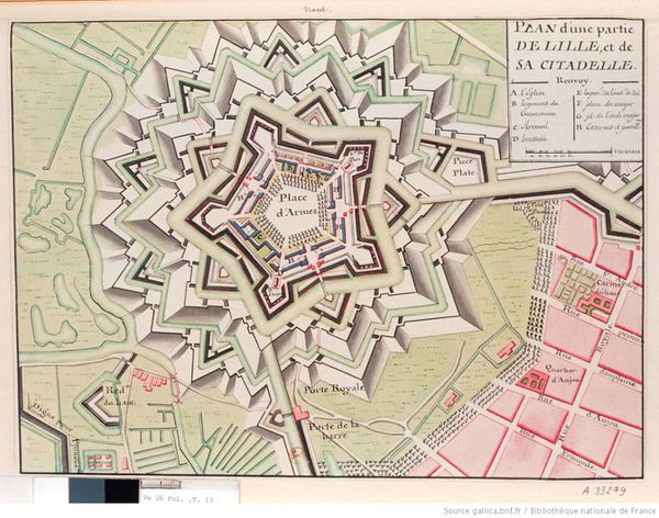 Plan à la plume, encre de Chine et aquarelle d'une partie de Lille, et de sa citadelle, publié au 18ème siècle.