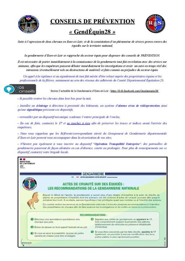 GendEquin 28, les conseils de prévention