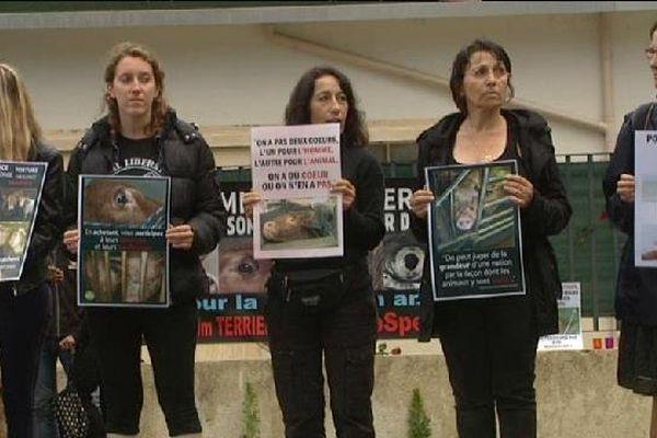 Les défenseurs de la cause animale ont manifesté à Puget-Théniers devant l'abattoir.