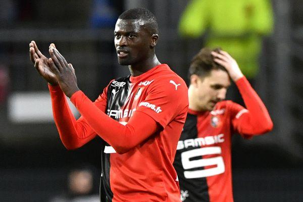 Mbaye Niang lors du match du Stade rennais contre Nîmes en février 2020