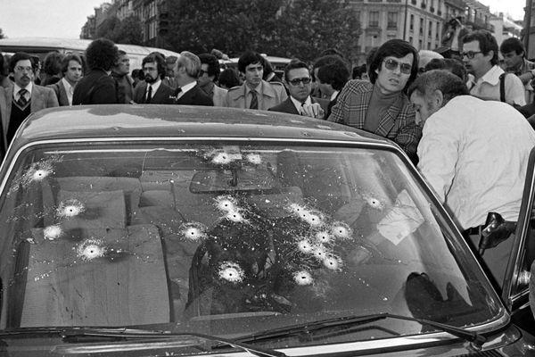 La BMW criblée de balles de Jacques Mesrine, le 2 novembre 1979.