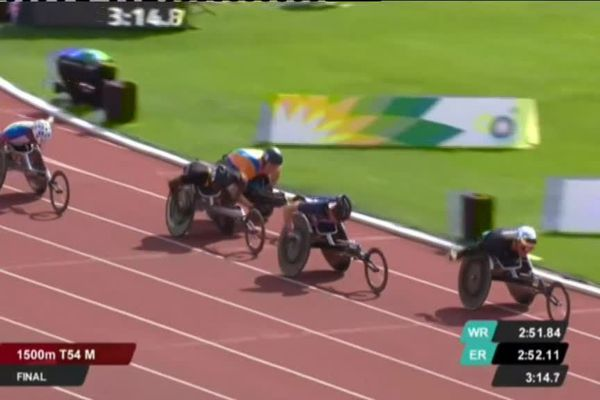 Julien Casoli, médaille d'argent aux championnats d'Europe handisport de Berlin (1500m T54)
