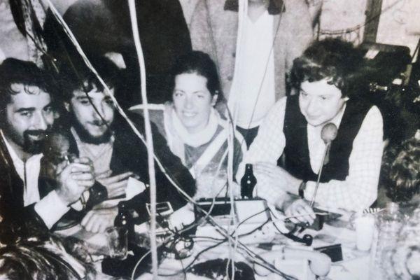 """Radio """"Lorraine Coeur d'Acier"""" 1979. A gauche: Michel Olmi; Au milieu: Jocelyne Casavecchia"""