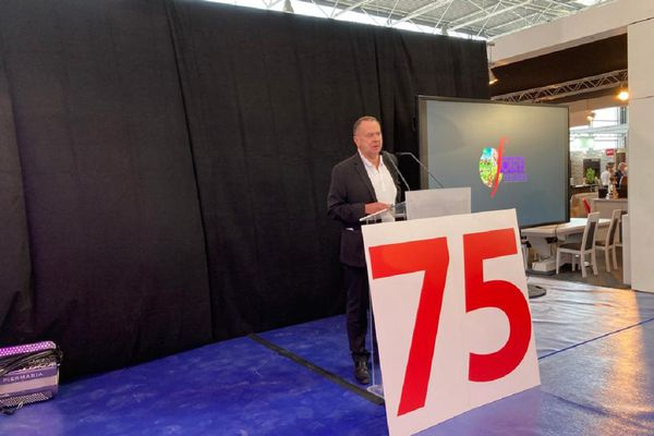 Le commissaire général de la foire, Bruno Forget, pendant son discours inaugural de la 75e édition, le jeudi 2 septembre 2021.