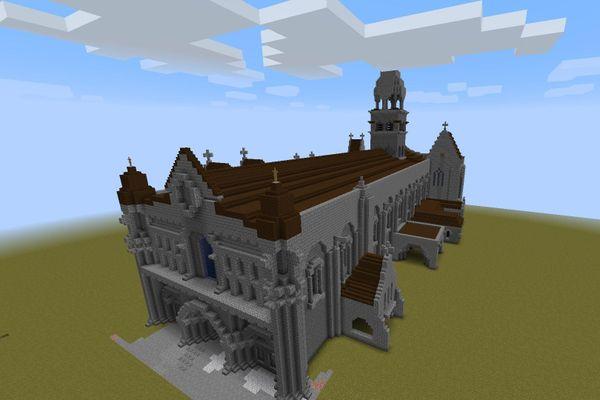 Notre-Dame-la-Grande en cours de modélisation dans Minecraft