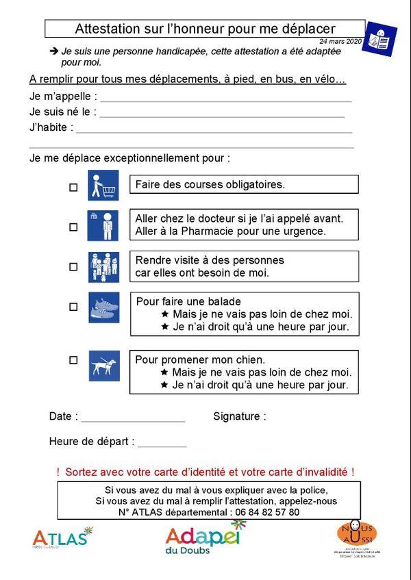 La dérogation version simplifiée proposée par l'Adapei du Doubs pour les personnes en situation de handicap mental.