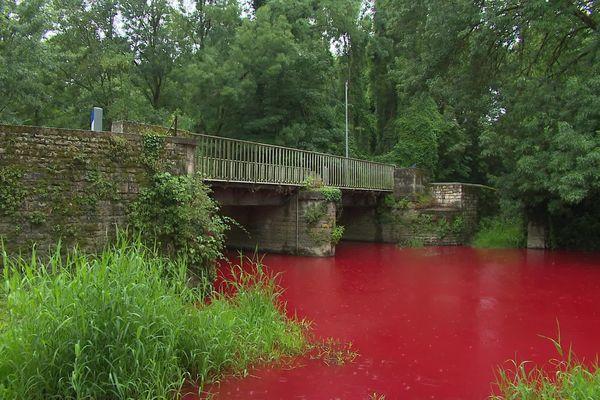 La Sèvre Niortaise a été colorée en rouge pour mieux connaître le circuit de l'eau jusqu'aux orages dans les nappes phréatiques.