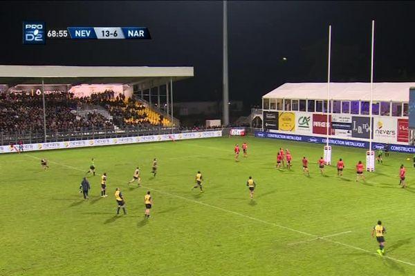 L'unique essai du match a été inscrit par Nevers à la 45ème minute.
