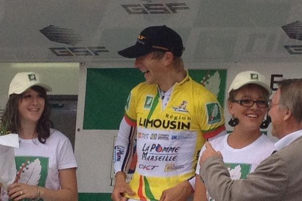 Le lituanien Evaldas Siskevicius, maillot jaune à l'issue de la 2ème étape du Tour du Limousin